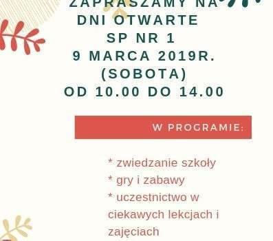 Dzień otwarty – 9 Marca 2019 r.